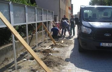 Předlažba chodníku Jemnice Budějovická